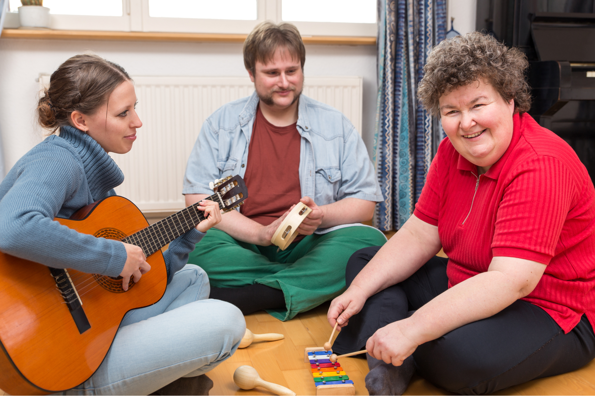 music therapy and mental health group of people healing with music